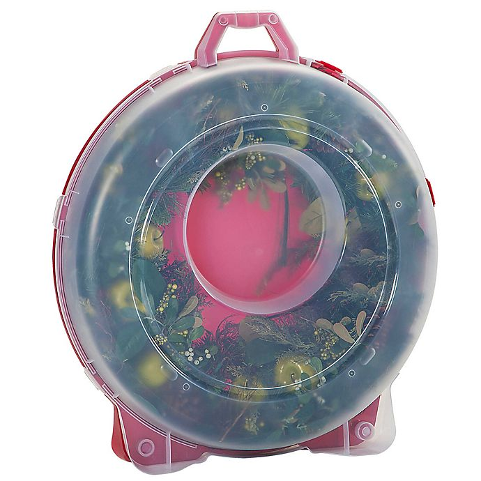 Alternate image 1 for IRIS® 30-Inch Wreath Box in Clear/Red