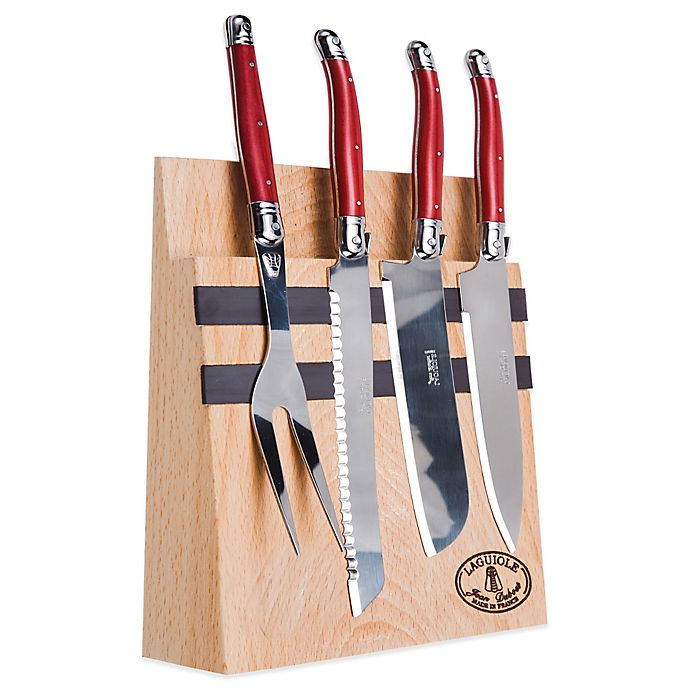 Laguiole 5-Piece Kitchen Knife Set With Magnetic Block In