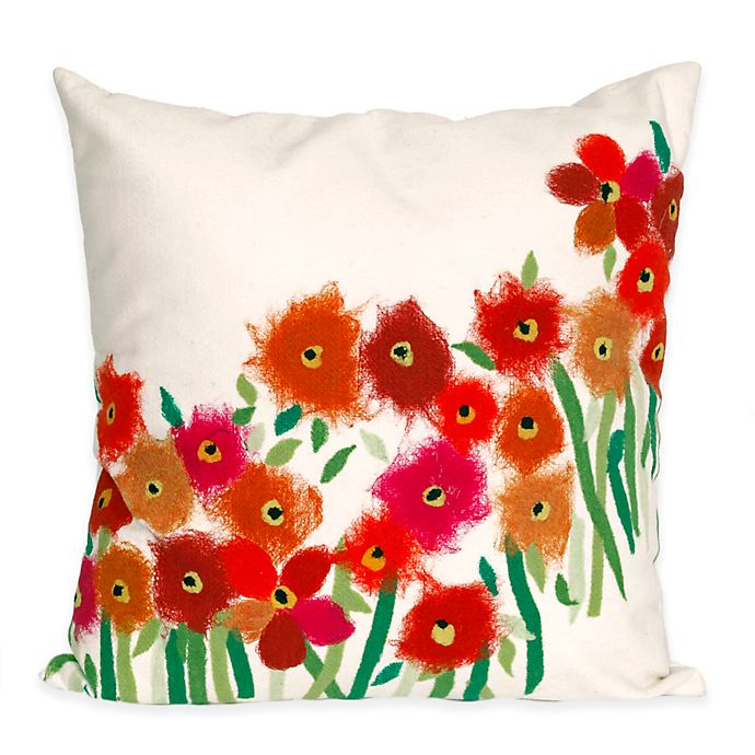 Alternate image 1 for Liora Manne Poppies 20-Inch x 20-Inch Outdoor Throw Pillow in Red