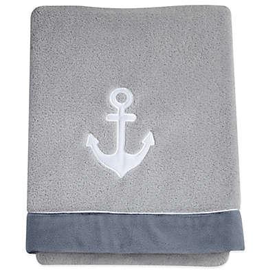 Nautica Kids® Mix & Match Velboa Anchor Blanket in Grey