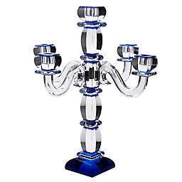 5-Branch Crystal and Sterling Silver Candelabra in Blue
