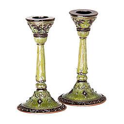 Ravenna Jeweled Enamel Candlesticks (Set of 2)