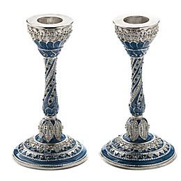 Capri Blue Jeweled Enamel Candlesticks (Set of 2)