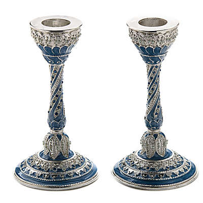 Capri Blue Jeweled Enamel Candlesticks (Set of 2)