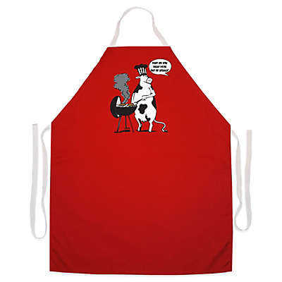 "L. A. Imprints ""Cow BBQ"" Novelty Apron in Red"