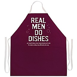 "L.A. Imprints ""Real Men Do Dishes"" Novelty Apron in Maroon"