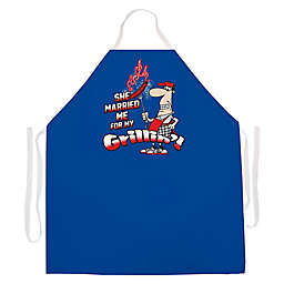 "L.A. Imprints ""Married Me for Grilling"" Novelty Apron in Royal Blue"