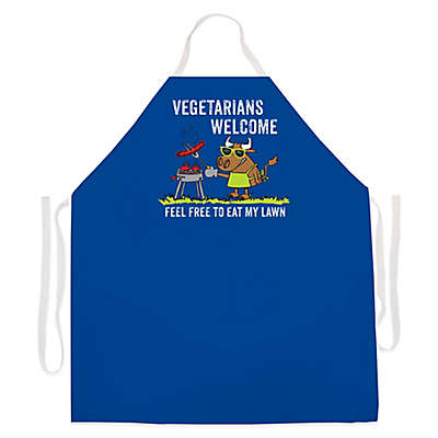 "L.A. Imprints ""Vegetarians Welcome"" Novelty Apron in Royal Blue"