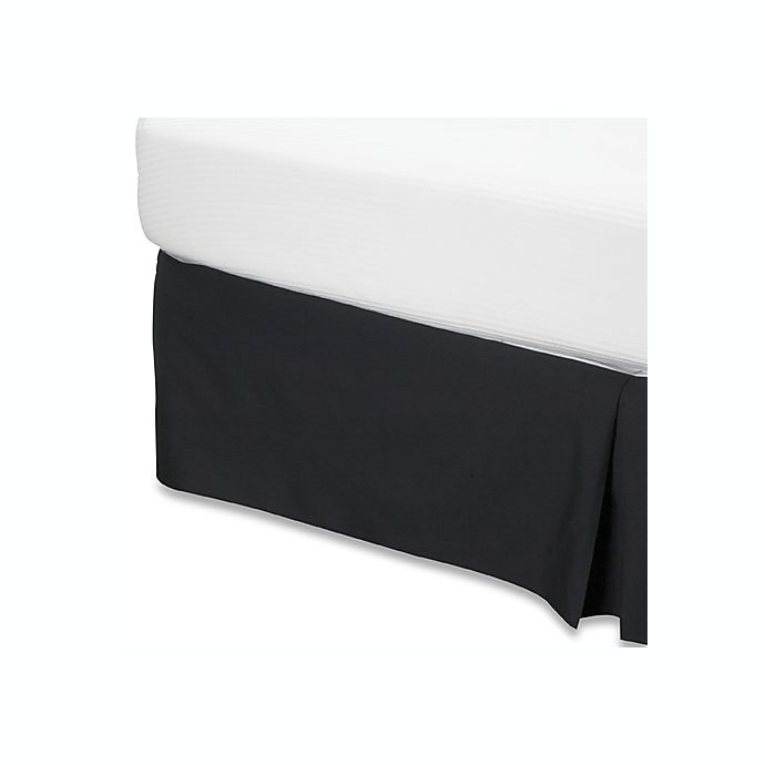 buy smoothweave 14 inch tailored twin extra long bed skirt in black from bed bath beyond. Black Bedroom Furniture Sets. Home Design Ideas