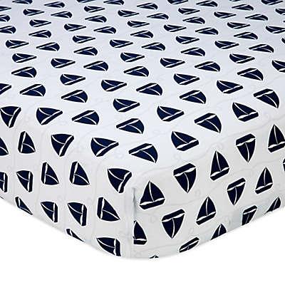 Nautica Kids® Mix & Match Sailboat Print Fitted Crib Sheet