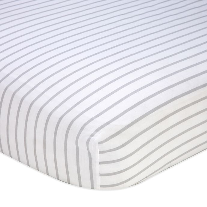 Alternate image 1 for Nautica Kids® Mix & Match Striped Fitted Crib Sheet in Grey/White