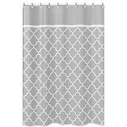Sweet Jojo Designs Trellis Shower Curtain In Grey White