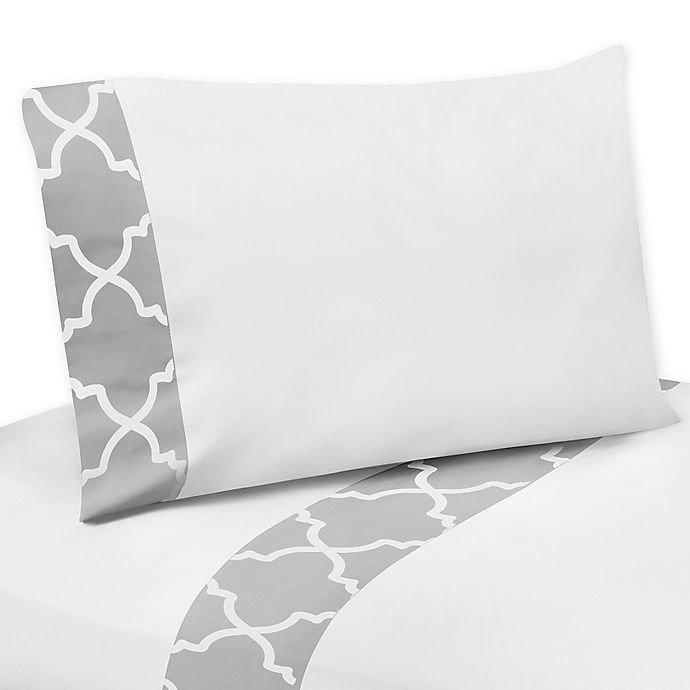 Alternate image 1 for Sweet Jojo Designs Trellis Sheet Set in Grey/White