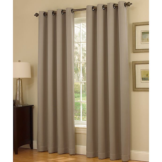 Alternate image 1 for Insola Dorian Thermalayer Grommet Top 84-Inch Window Curtain Panel in Mushroom