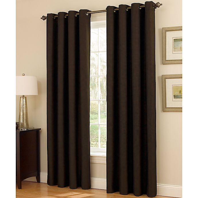 Alternate image 1 for Insola Dorian Thermalayer Grommet Top 84-Inch Window Curtain Panel in Chocolate