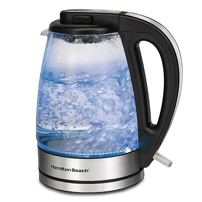 Alternate image 1 for Hamilton Beach® 1.7-Liter Soft Blue Illuminated Glass Kettle
