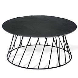 Boston International Small Bites Round Slate 2-Piece Elevated Serving Set in Black