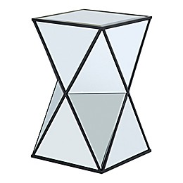Glam Angular Mirror Accent Drum Table