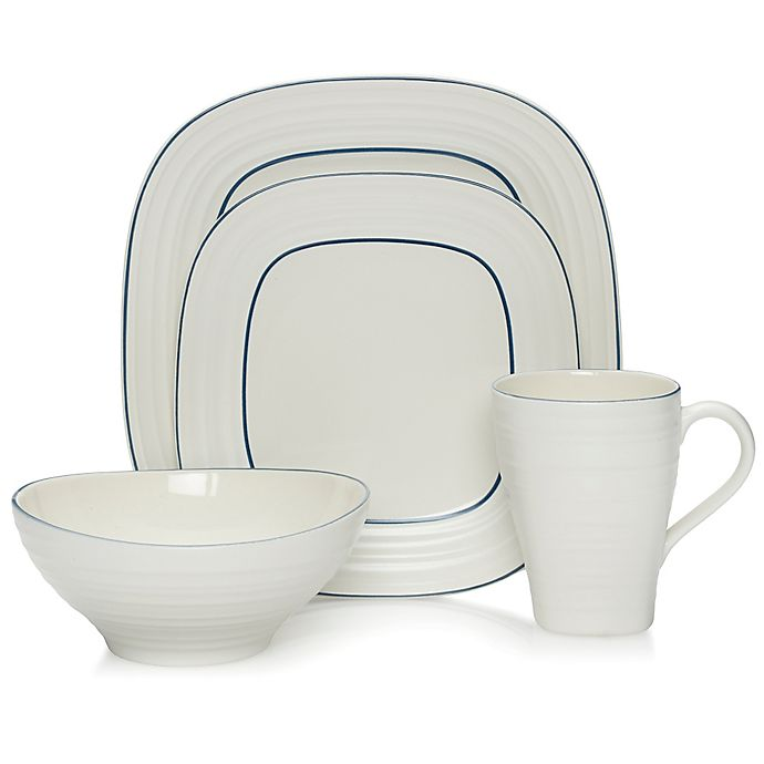 Alternate image 1 for Mikasa® Swirl Square Banded 4-Piece Place Setting in Blue