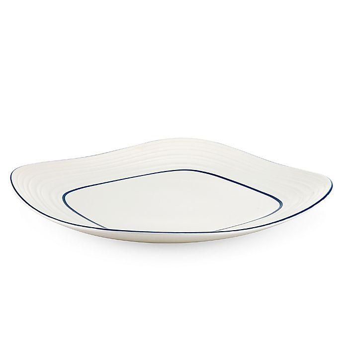 Alternate image 1 for Mikasa® Swirl Square Banded Platter in Blue