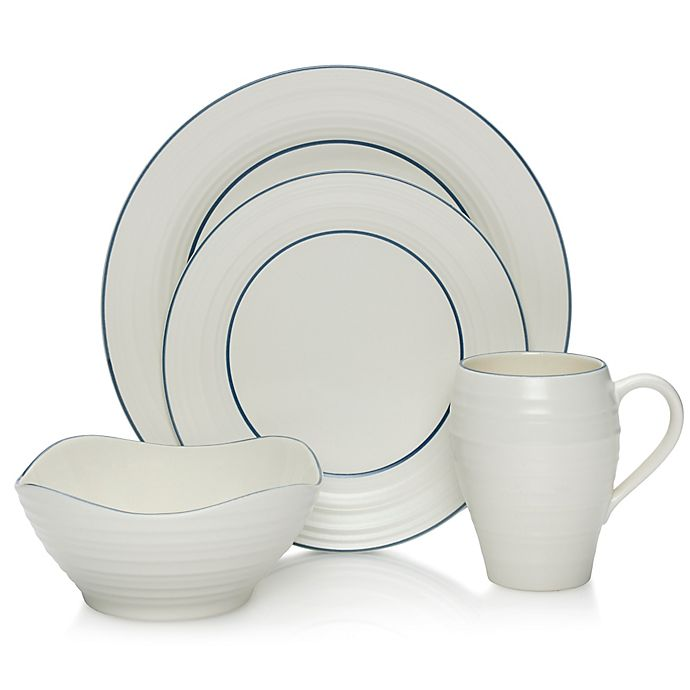 Alternate image 1 for Mikasa® Swirl Banded Dinnerware Collection in Blue
