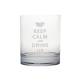 "Susquehanna Glass Etched Novelty Barware ""Keep Calm and Drink Up"" Rocks Glass"