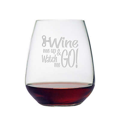 "Susquehanna ""Wine Me Up Watch Me Go"" Stemless Wine Glass"