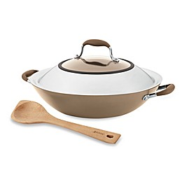 Anolon® Advanced Umber 14-Inch Covered Wok with 13-Inch Beechwood Pointy Spoon