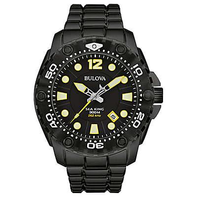Bulova Sea King Men's 48mm Black Dial Watch in Black Stainless Steel