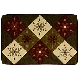 Nourison 2-Foot 6-Inch x 1-Foot 8-Inch Floral/Squares Kitchen Rug in Brown