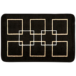 Nourison 30-Inch x 20-Inch Squares Kitchen Rug in Black