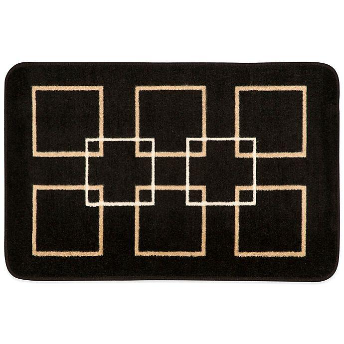 Nourison 30-Inch x 20-Inch Squares Kitchen Rug in Black ...