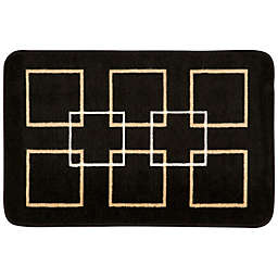 Nourison 30-Inch x 20-Inch Squares Kitchen Rug in Black