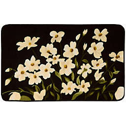 Nourison 20-Inch x 30-Inch Floral Kitchen Rug in Black