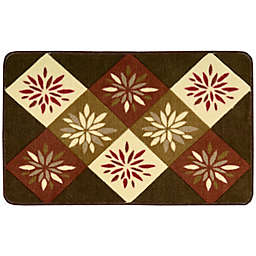 Nourison 30-Inch x 20-Inch Square Floral Print Kitchen Rug in Brown