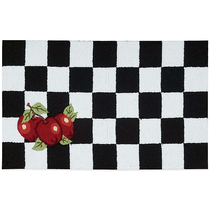 Nourison Apple 33-Inch x 20-Inch Kitchen Rug in Black/White ...