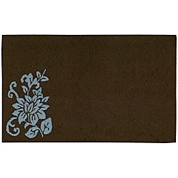 Nourison Solid Floral 33-Inch x 20-Inch Kitchen Rug in Brown