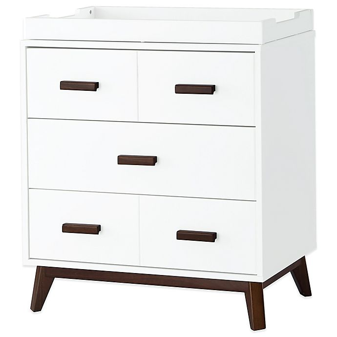 Alternate image 1 for Babyletto Scoot 3-Drawer Changer Dresser in White/Walnut