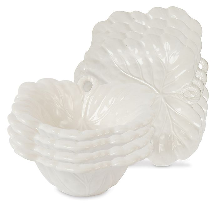 Alternate image 1 for Fitz and Floyd® Bristol Appetizer Plates and Snack Bowls in Crème (Set of 4)