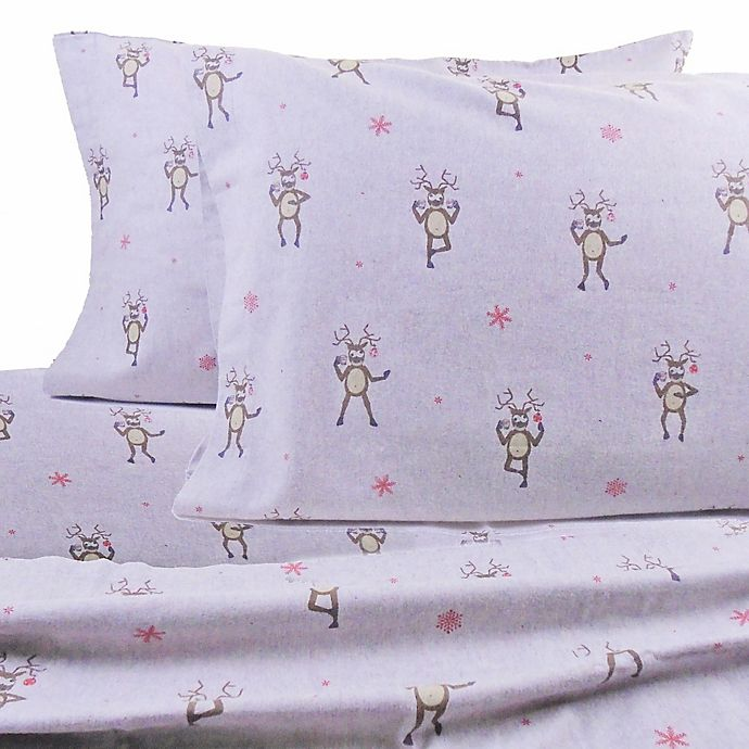 Alternate image 1 for Belle Epoque La Rochelle Collection Reindeer Heathered Flannel Sheet Set in Brown