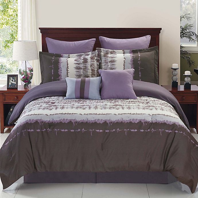 Buy Hudson Reversible 8 Piece King Comforter Set In Purple