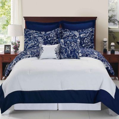 Enzo Reversible Comforter Set In Navy White Bed Bath