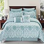 Dawson Reversible 8-Piece Queen Comforter Set in Blue/White
