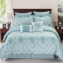 Dawson Reversible Comforter Set in Blue/White