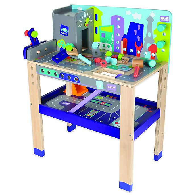 Alternate image 1 for Boikido® Wooden 2-in-1 Workbench Build & Drive Activity Center