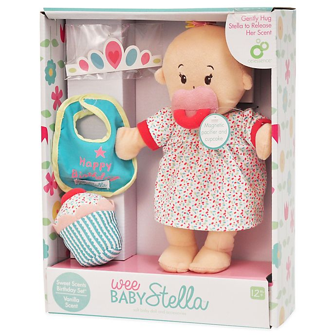 Alternate image 1 for Manhattan Toy® Wee Baby Stella Happy Birthday Doll Set with Vanilla Scent