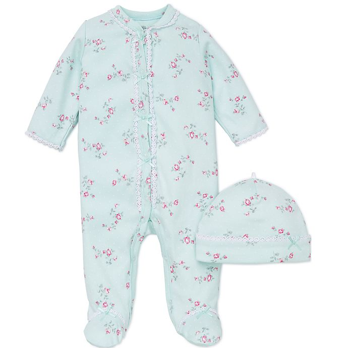 Alternate image 1 for Little Me® 2-Piece Floral Spray Footie and Hat Set in Aqua