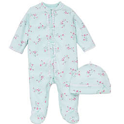 Little Me® 2-Piece Floral Spray Footie and Hat Set in Aqua