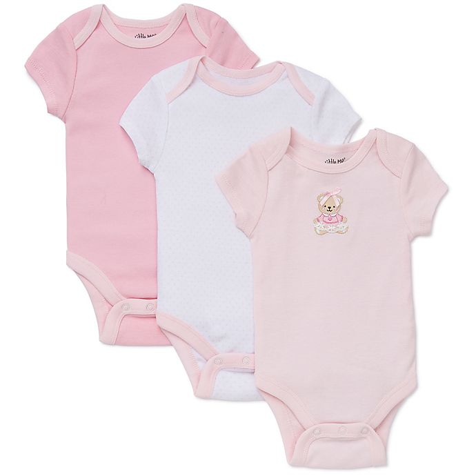 Alternate image 1 for Little Me® Size 3M 3-Pack Sweet Bear Bodysuits in Pink