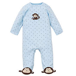 Little Me® Monkey Star Side-Snap Footie in Blue